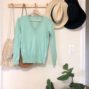 J. Crew v neck aquamarine knit sweater XS
